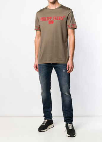 MILITARY GREEN TSHIRT WITH RED STARS FROM PHILIPP PLEIN