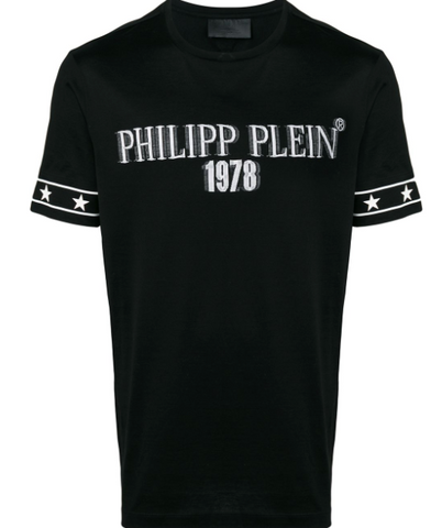 BLACK TSHIRT WITH WHITE STARS FROM PHILIPP PLEIN