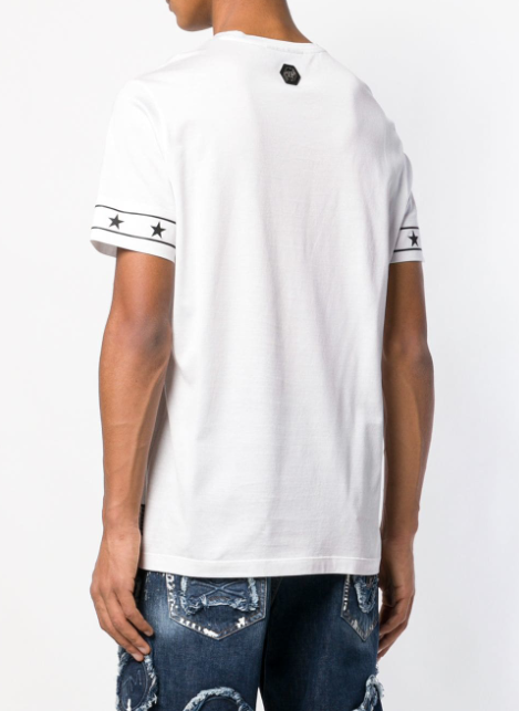 White tshirt with black logo and stars from Philpp Plein