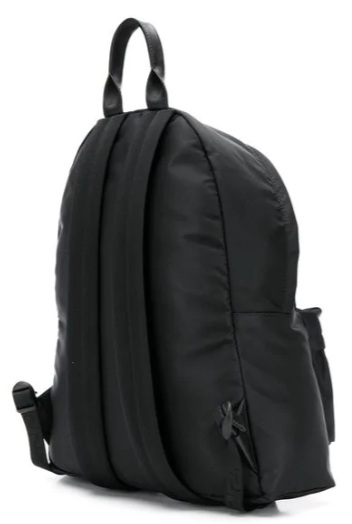 black backpack with white logo from versace