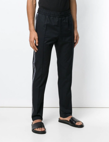 BLACK TRACK PANTS WITH LOGO BAND FROM VERSACE