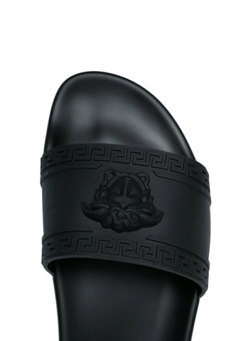 BLACK PALAZZO POOL SLIDES FROM VERSACE