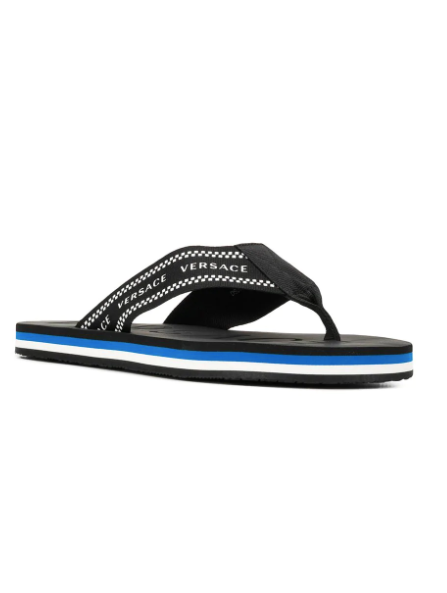 BLACK LOGO PRINT FLIP FLOPS WITH BLUE SOLE FROM VERSACE
