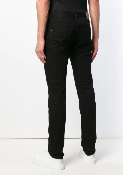 BLACK CLASSIC SLIMFIT JEANS WITH SILVER BUTTON FROM VERSACE