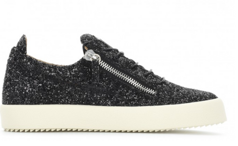 BLACK GLIMMER SNEAKER WITH WHITE SOLE FROM GIUSEPPE ZANOTTI