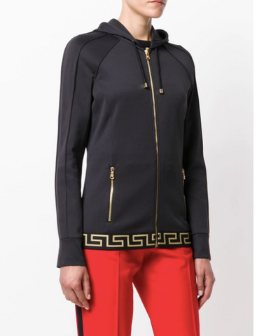 BLACK ZIP HOODIE WITH GREEK GOLD BORDER FROM VERSACE