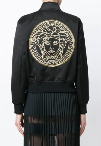 black jacket with gold medusa embroidery from versace