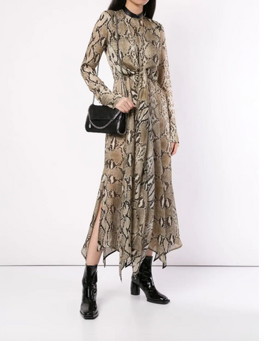 PYTHON SILK DRESS WITH LEATHER FROM PETAR PETROV