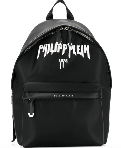 black packpack with white logo from philipp plein