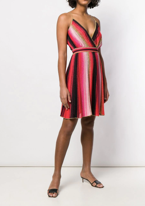 Multi clolour pink short dress with gold strap from Missoni