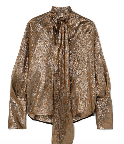 gold bow blouse metalic from petar petrov
