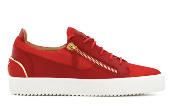 Red low suede sneaker with gold details from Giuseppe Zanotti