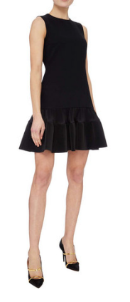 BLACK SHORT PLEATED HEM DRESS FROM VICTORIA BECKHAM