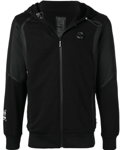 BLACK HOODIE WITH WHITE DETAILS FROM PHILIPP PLEIN