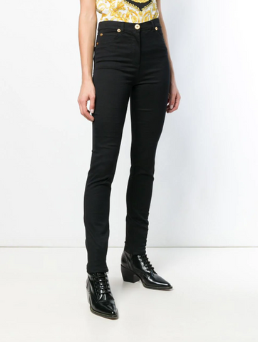 BLACK JEANS SLIM FIT AND HIDDEN ZIP IN THE LEGS FROM VERSACE