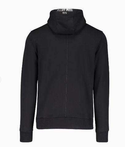 black hoodie with silver metallic logo from philipp plein