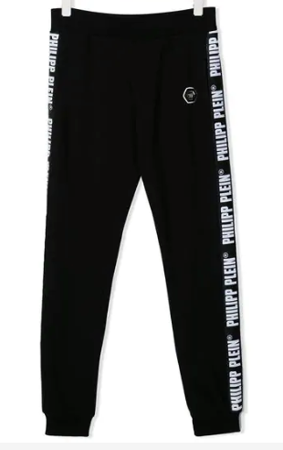 BLACK TRACK PANTS WITH WHITE LOGO FROM PHILIPP PLEIN JUNIOR