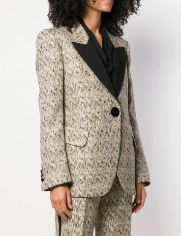 beige and black jacket in gold brocade from petar petrov