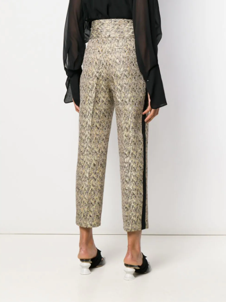 beige and black gold brocade pants from petar petrov