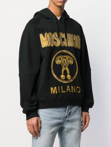 black hoodie from moschino with gold logo