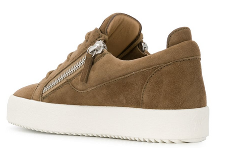 camel suede sneaker with silver zip from giuseppe zanotti