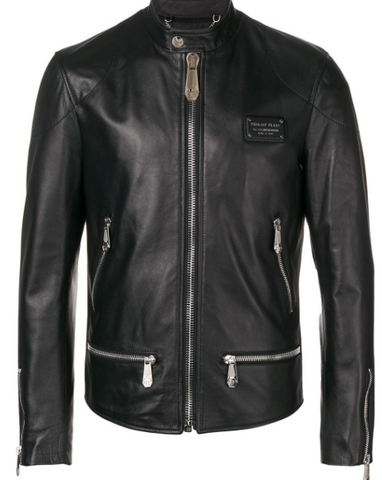 black leather jacket with silver logo from philipp plein