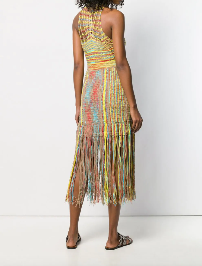multi colour knit dress with fringe from missoni