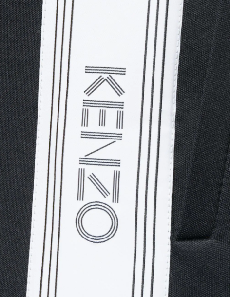 black track pants with white logo band from kenzo