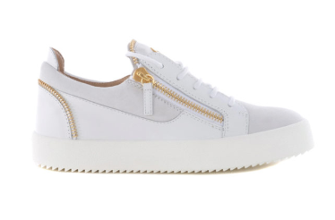 white suede and leather low sneaker with gold zip from giuseppe zanotti