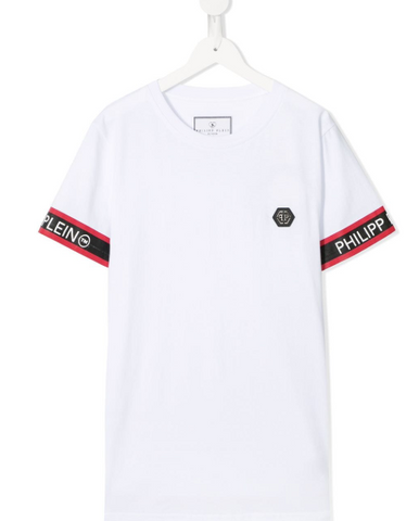 white tshirt with red logo band from philipp plein junior