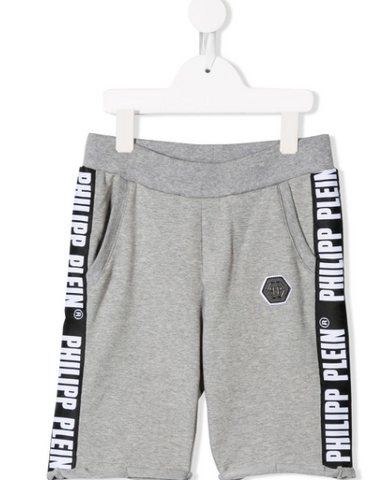grey philipp plein junior shorts with logo band