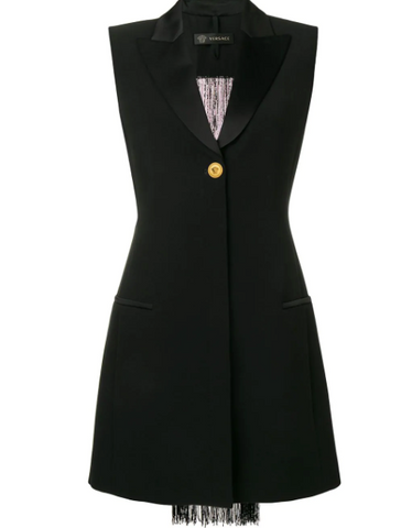 black tuxedo dress with pearl fringe from versace