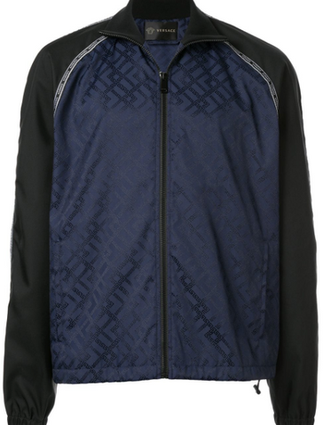 blue jacket with monogram from versace