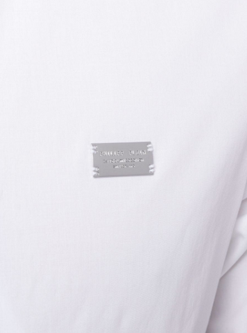 white shirt with silver logo plate from philipp plein