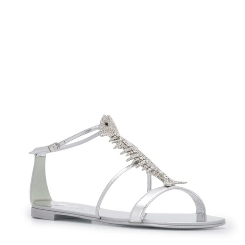 silver fish sandal with sparkling crystals from giuseppe zanotti