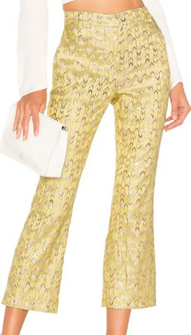 yellow sand pants with metallic detail from birgitte herskind