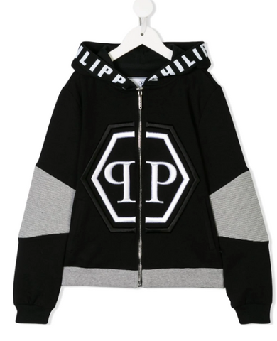 black hoodie with grey details and white logo from philipp plein junior