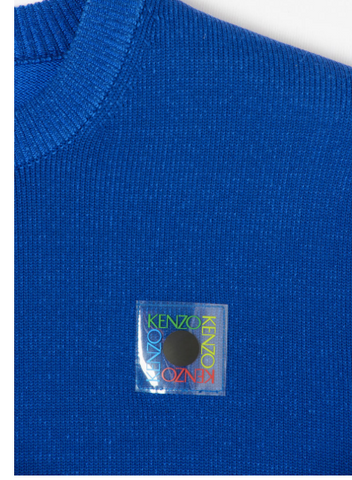 blue knit wear with pvc logo on the chest from kenzo