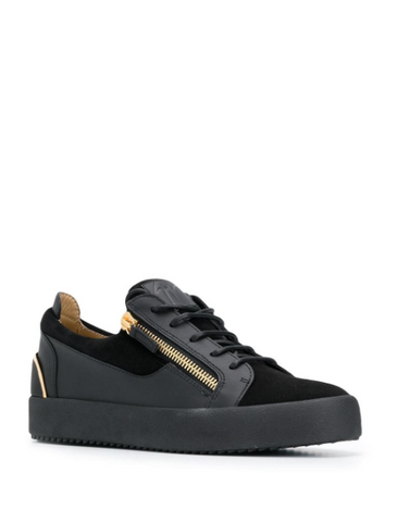 New black low top sneaker in suede with gold detail behind from giuseppe zanotti