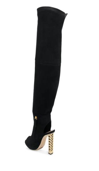 Black suede long stiletto boots from Rita ora and giuseppe zanotti