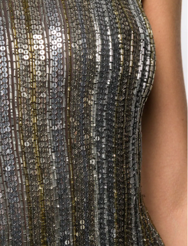 Fringe dress in with gold and silver fringe from amen