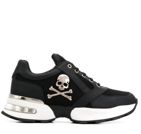 Black scull low top sneaker from philipp plein