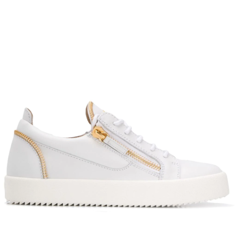 White sneaker with gold zip details from giuseppe zanotti