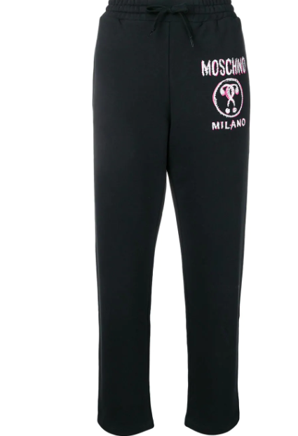 Black sweat pants with pink logo from moschino