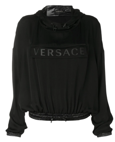 Black hoodie blouse with black logo from versace