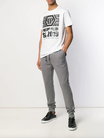 Grey statement jogging trousers with PP logo
