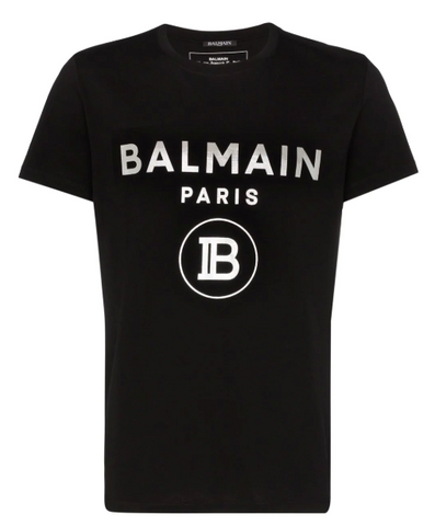 Black tshirt with silver print logo from Balmain