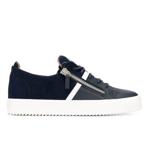 Navy blue low sneaker with white stripe from Giuseppe Zanotti