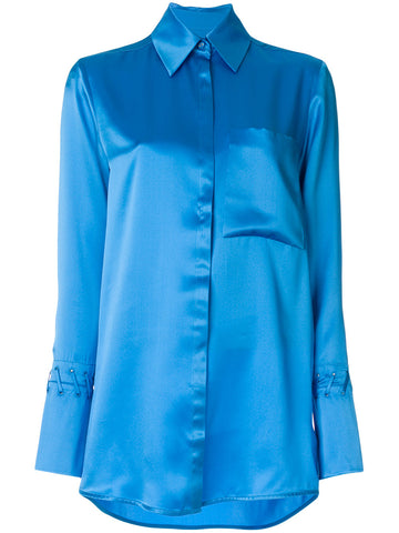 BLUE SILK SHIRT WITH DETAIL FROM VICTORIA VICTORIA BECKHAM
