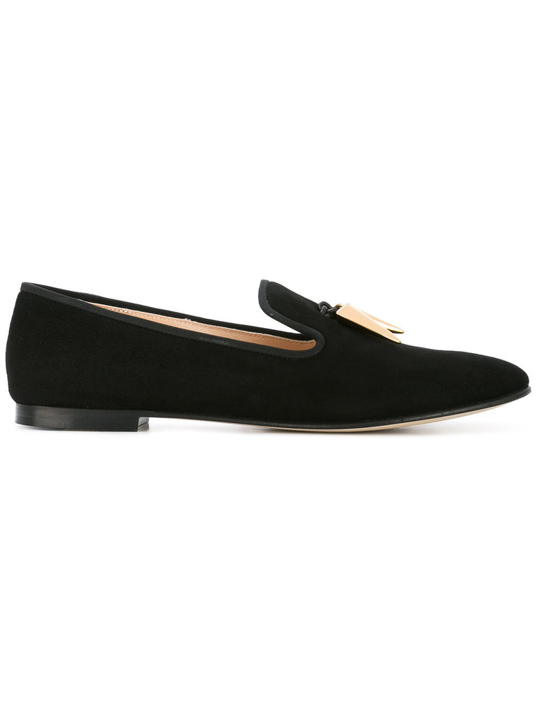 Black suede loafer with tooth